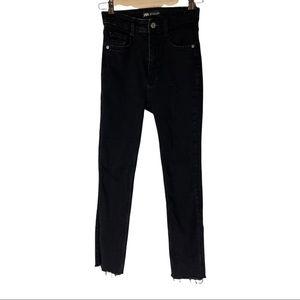 Zara black high rise raw hem skinny jeans